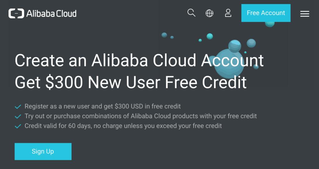 Alibaba Cloud Gratis 300 USD