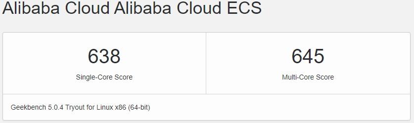 Skor Geekbench Alibaba Cloud t5 1 CPU-2GB Memory Jakarta