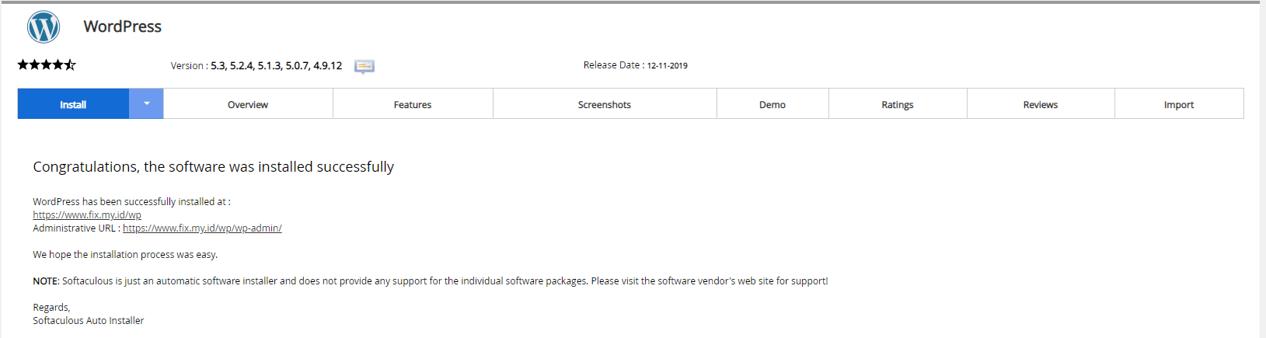 Wordpress berhasil di install lewat cpanel