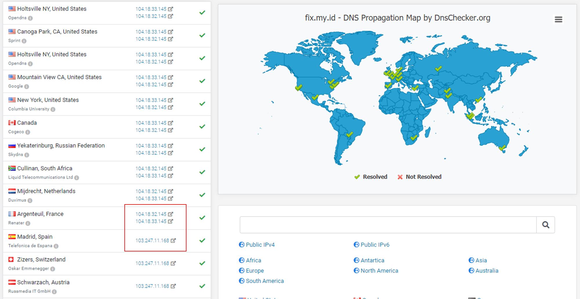 memeriksa propagasi ip address domain