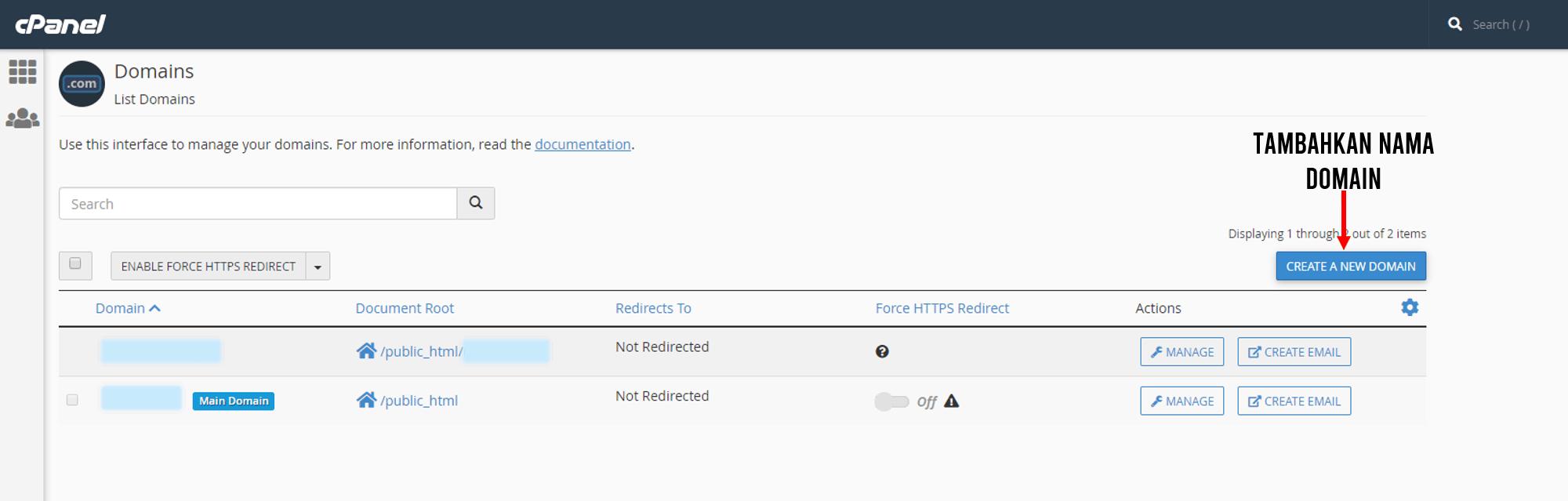 menambahkan nama domain pada cpanel