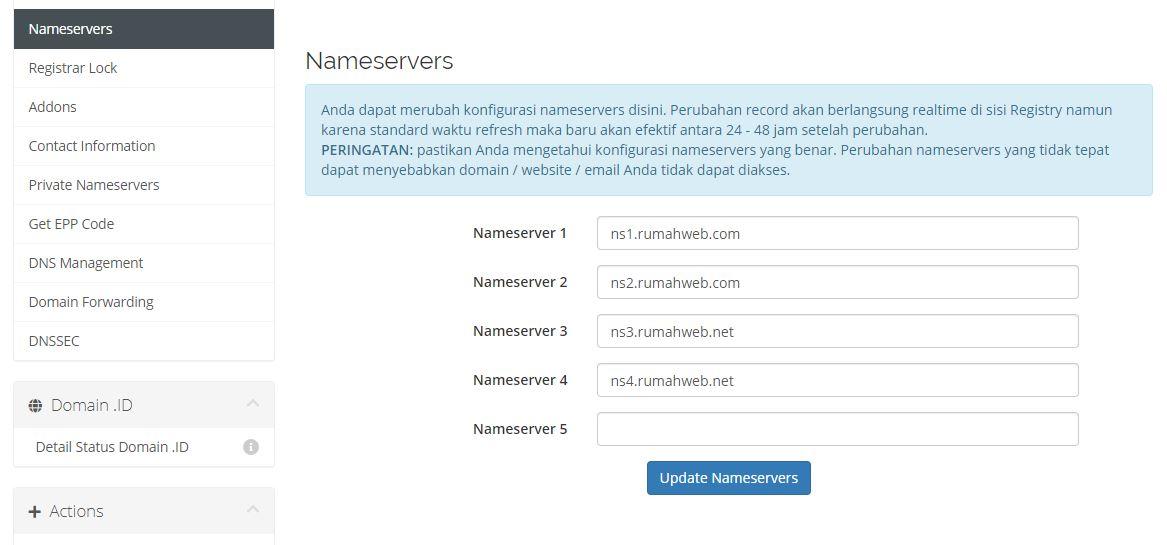 pengaturan name server domain