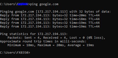 ping ke domain lewat command prompt