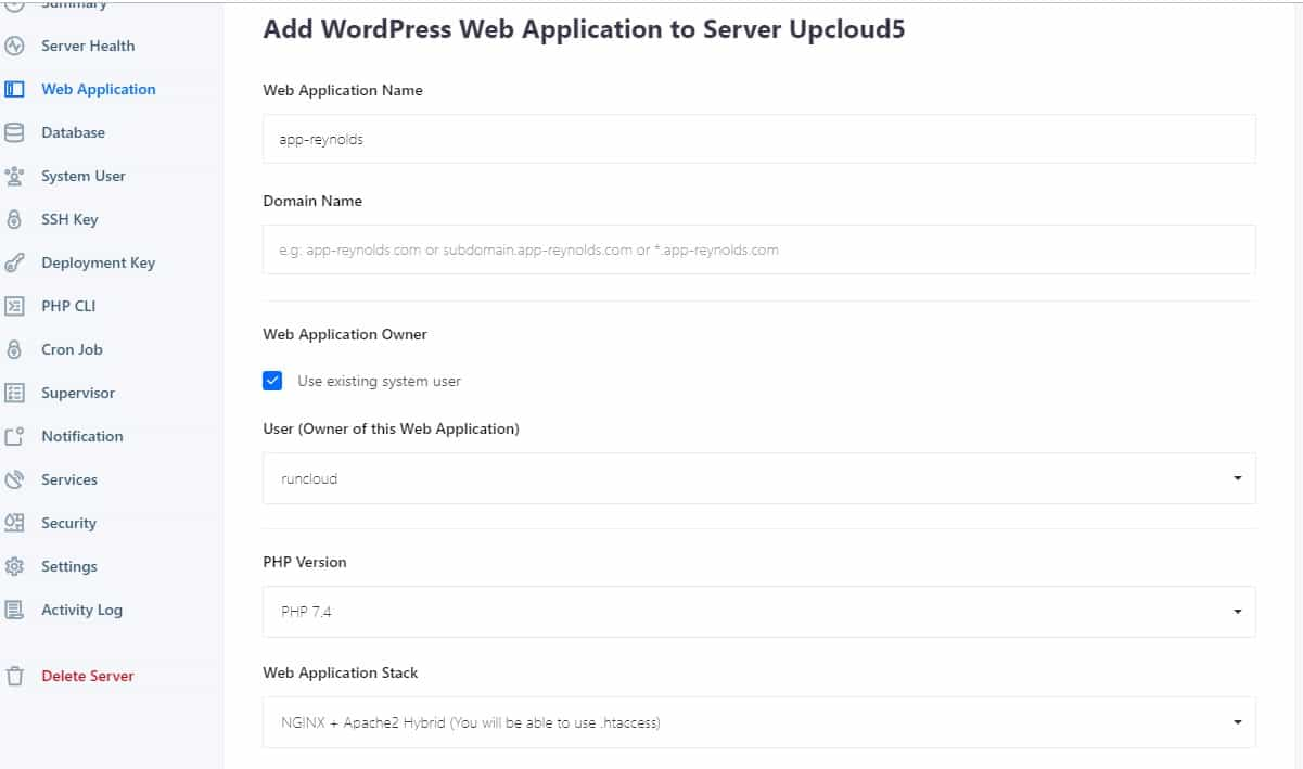1 click WordPress pada Runcloud Web Application