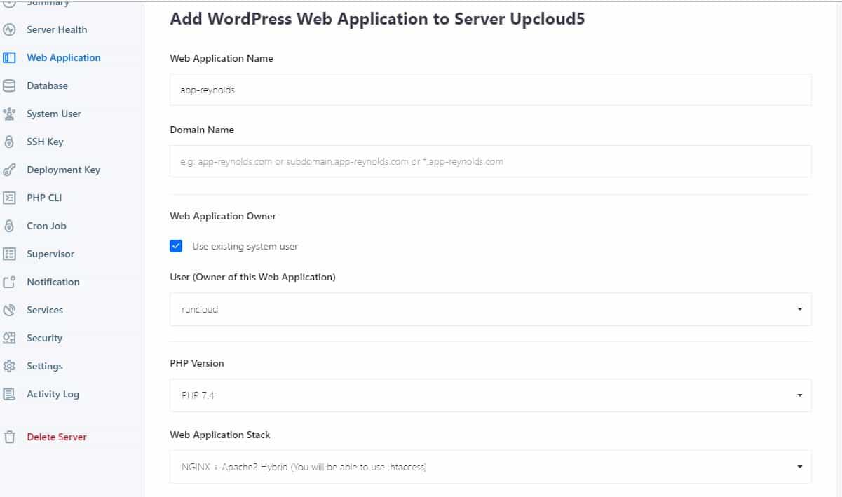 1 click WordPress pada Runcloud Web Application