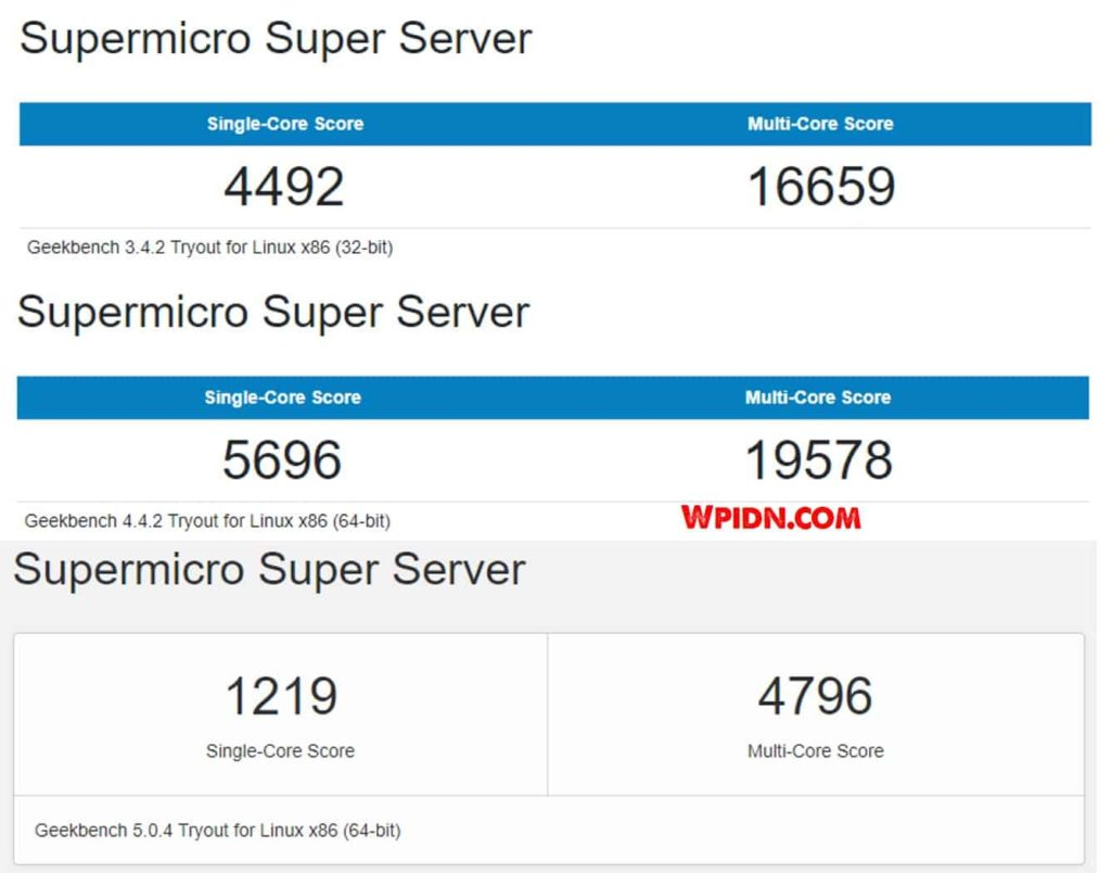Benchmark Geekbench 345 Bare Metal Vultr