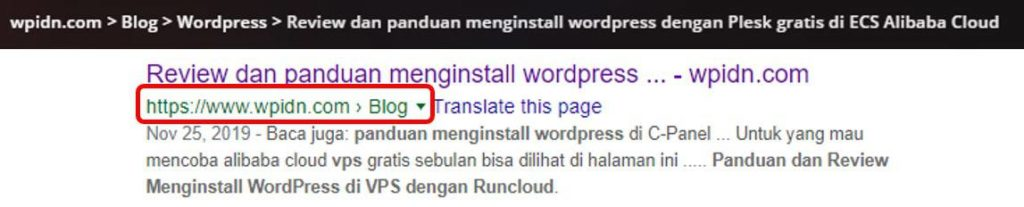 Contoh breadcrumb pada post dan search engine