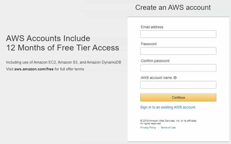 Halaman pendaftaran AWS Gratis