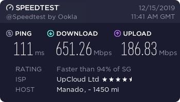 Kecepatan Download Upload Upcloud $5 Indonesia Timur