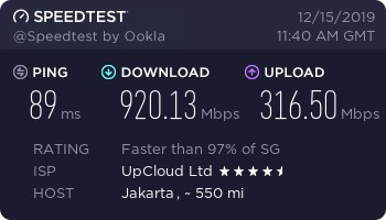 Kecepatan Download Upload Upcloud $5 Jakarta
