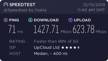 Kecepatan Download Upload Upcloud $5 Medan