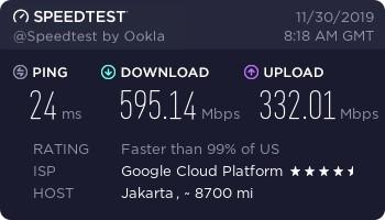 Kecepatan download upload GCP g1-small Jakarta