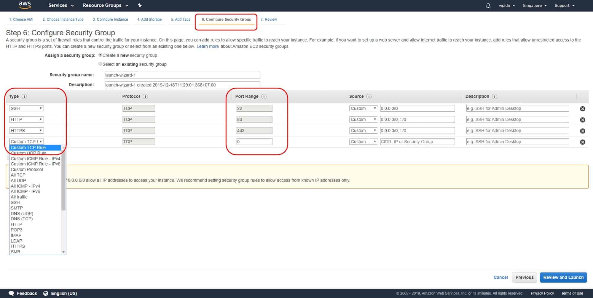 Konfigurasi port dan sekuriti group AWS