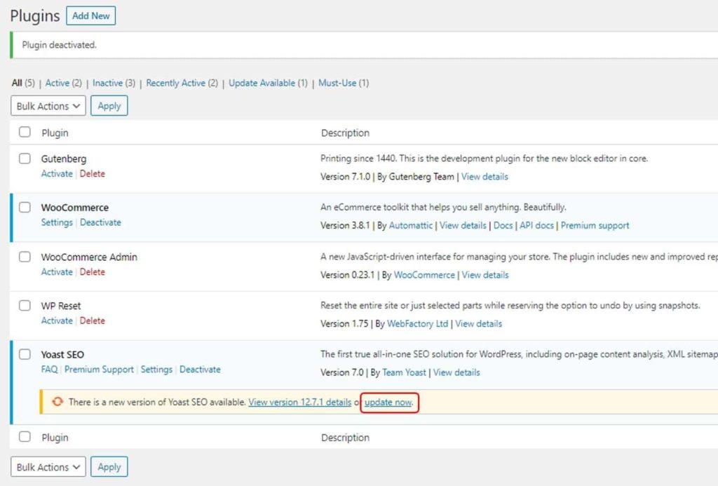 Mengupdate plugin wordpress