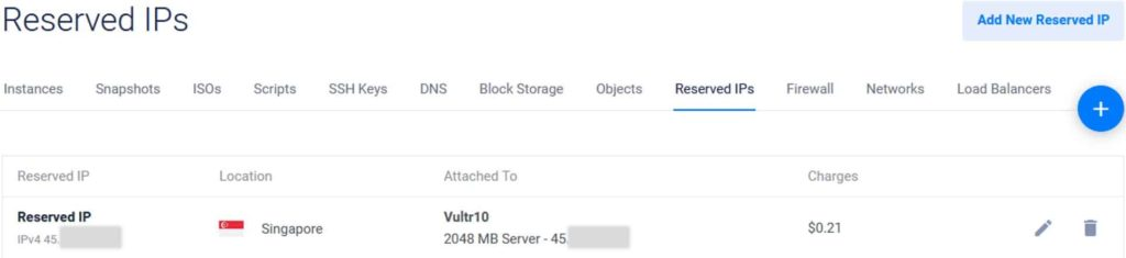 Reserved IP Vultr