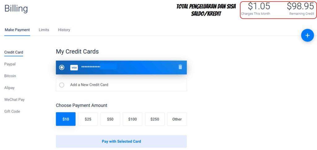Tagihan dan pembayaran VPS Vultr