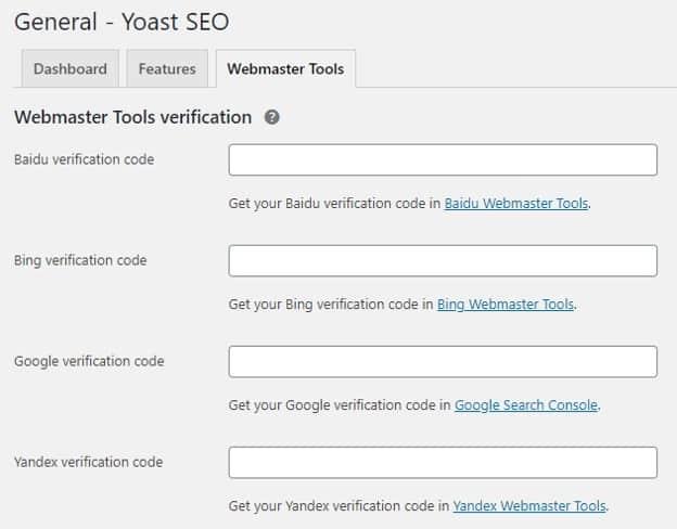 Webmaster Tools Yoast SEO