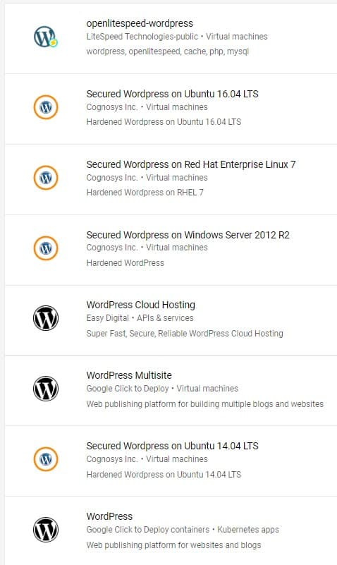 Wordpress Gratis di GCP Marketplace