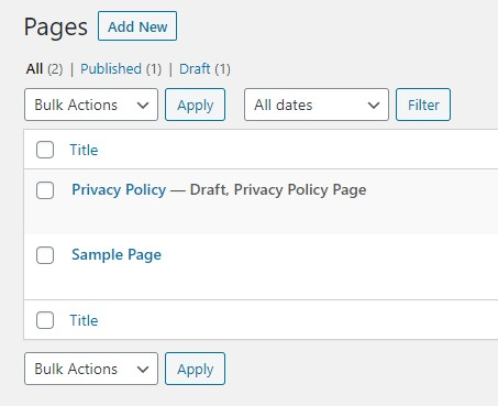 halaman atau page pada wordpress