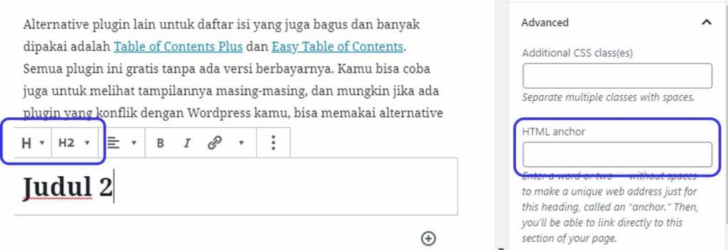 Cara menambahkan HTML anchor pada wordpress