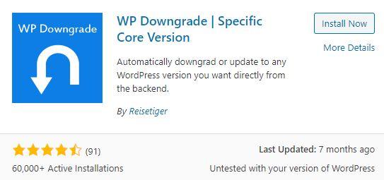 Plugin WP Downgrade - Specific Core Edition