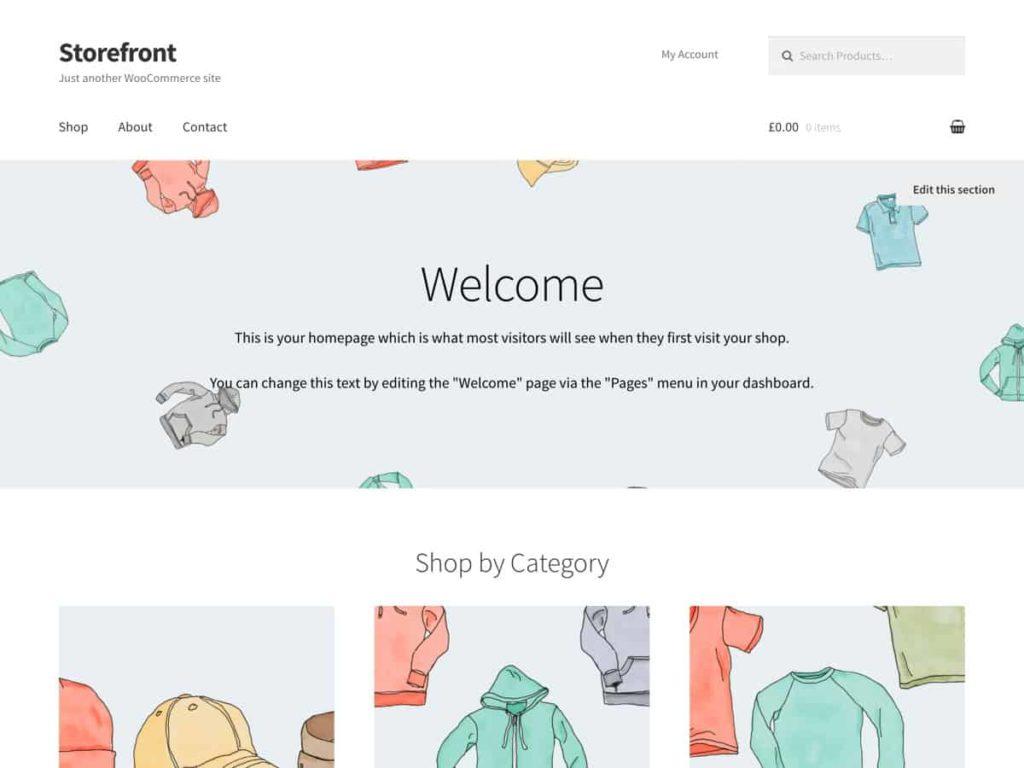 Theme storefront standard untuk online store dengan woocommerce