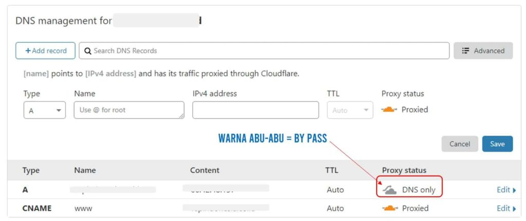 DNS management dan by pass proxy cloudflare