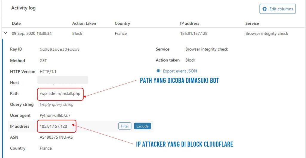 Log untuk attack yang terjadi di website kita