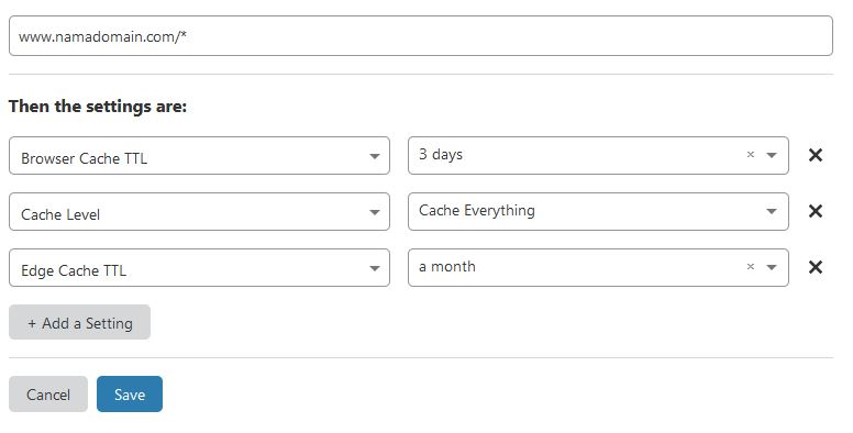 Page Rule supaya admin-dashboard WordPress tidak di cache