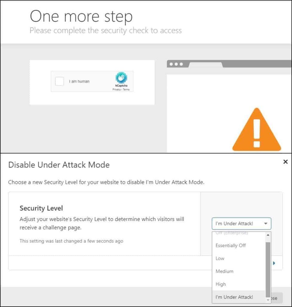 Proteksi untuk bot dengan under attack dan captcha browser