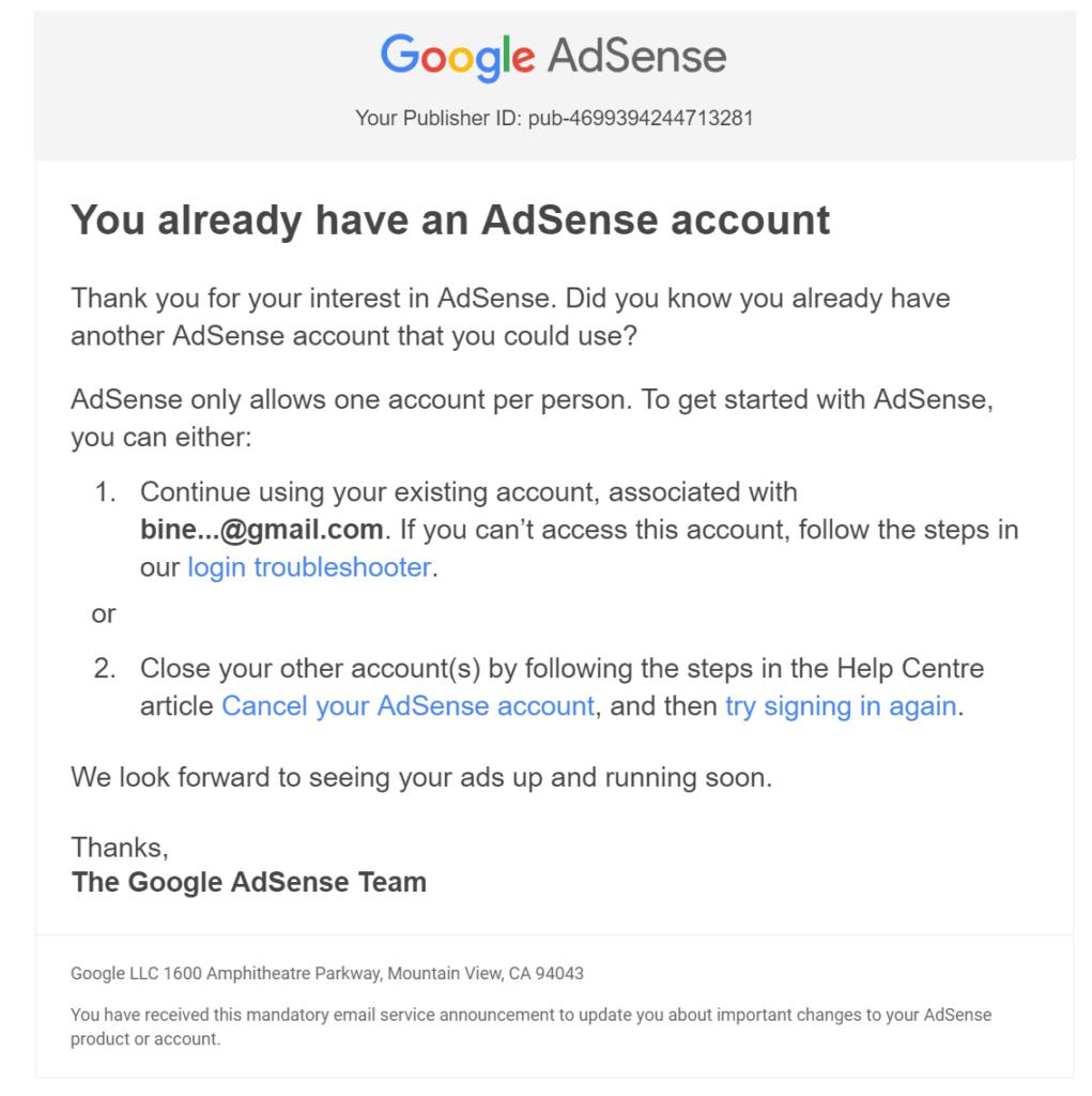 Akun ganda atau duplicate account Adsense