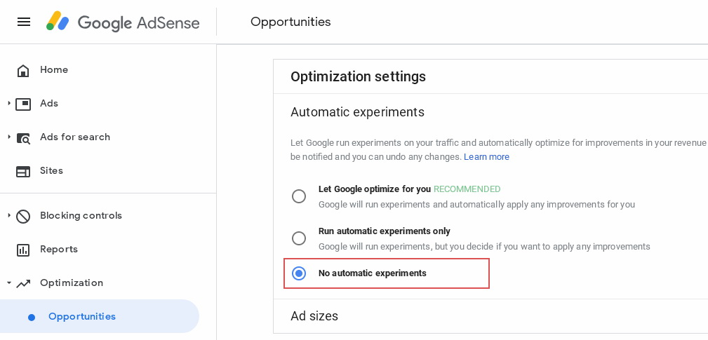 Experiment dengan adsense auto ads