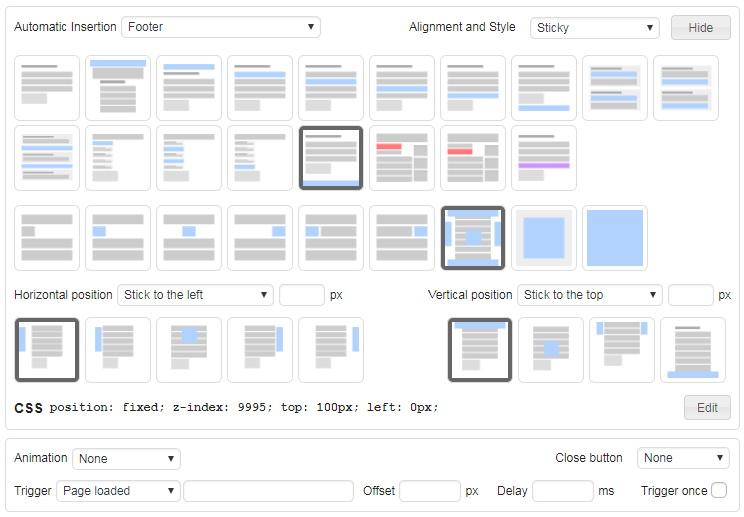 Konfigurasi posisi iklan manual untuk adsense