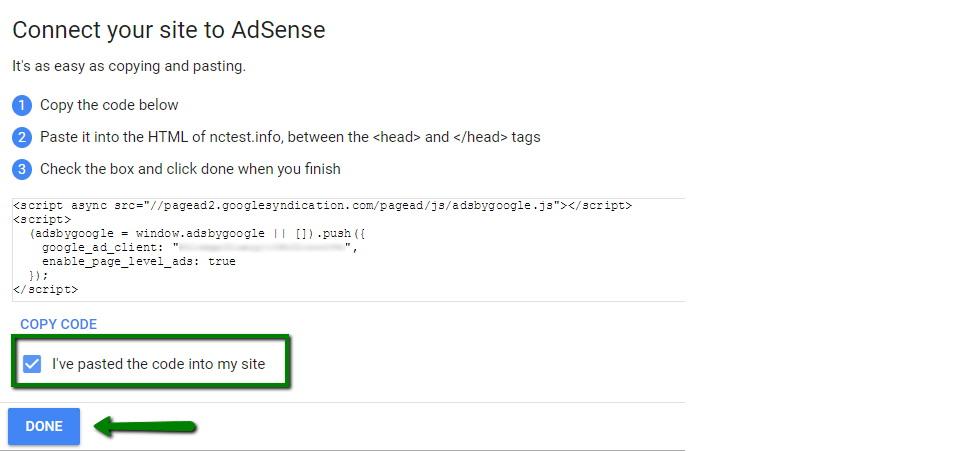 Konfirmasi jika kode verifikasi sudah terpasang