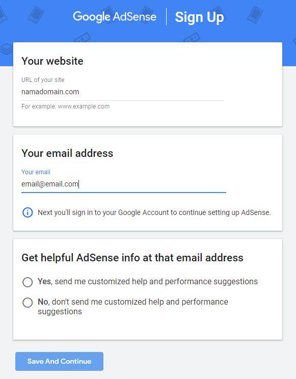 Masukkan website dan email ke adsense.google.com