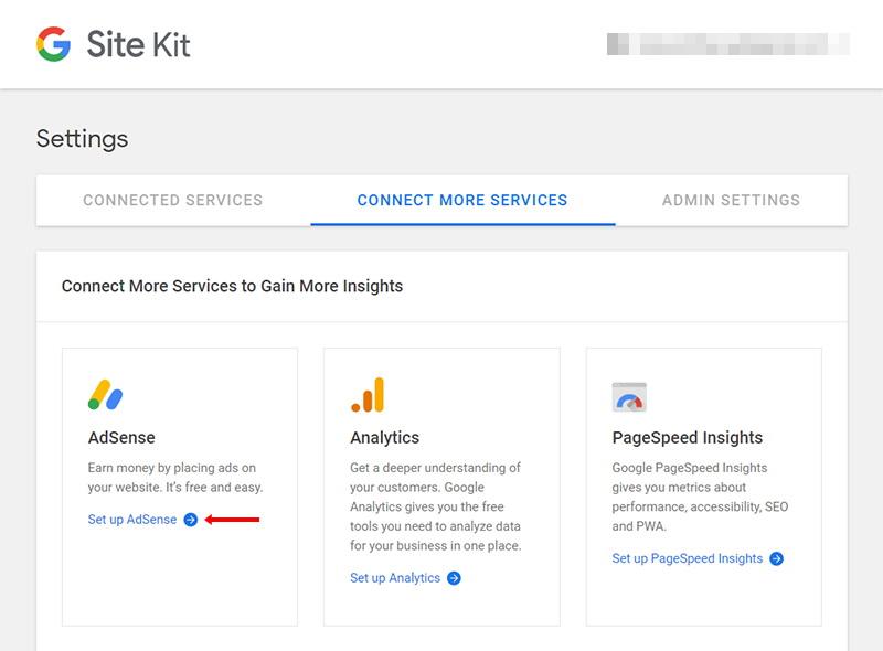 Menghubungkan google site kit dengan adsense