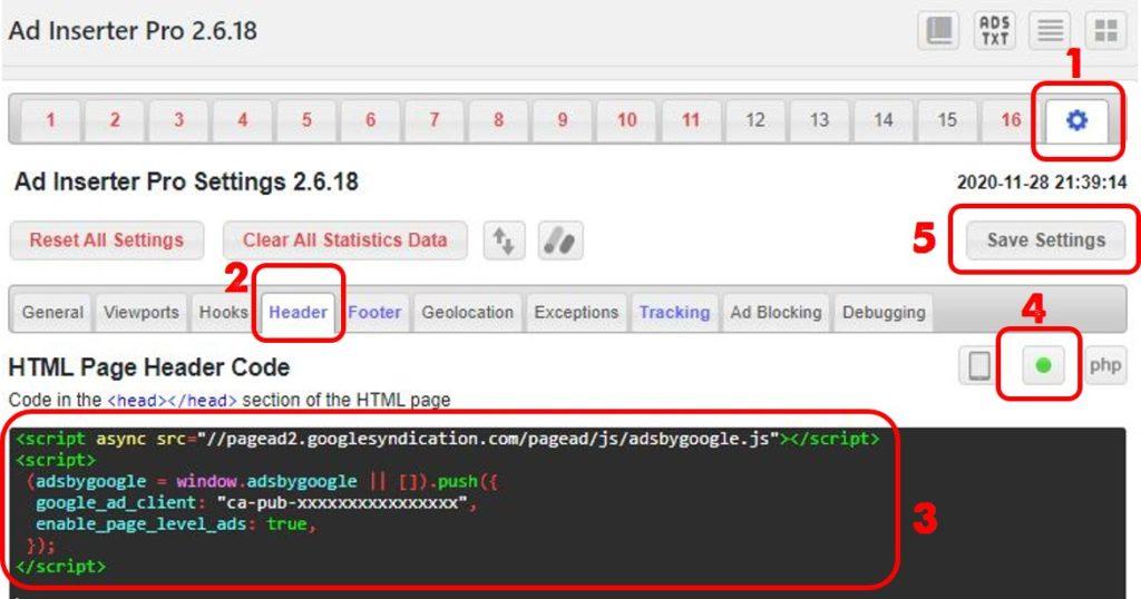 Plugin Ad Inserter insert kode ke header