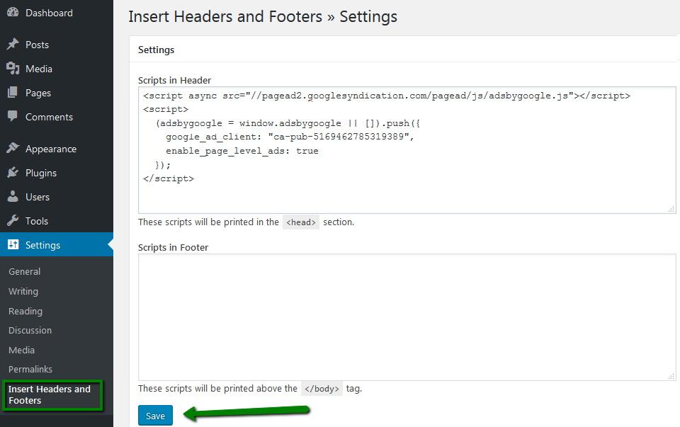 Plugin Insert Headers and Footers untuk memasukkan kode adsense