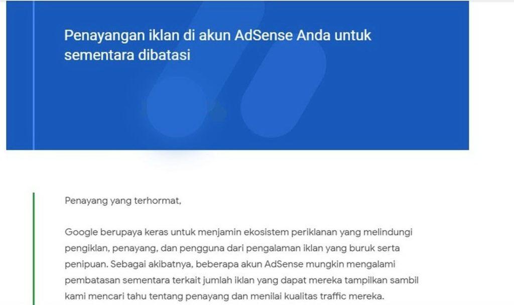 Email Penayangan iklan AdSense sementara dibatasi