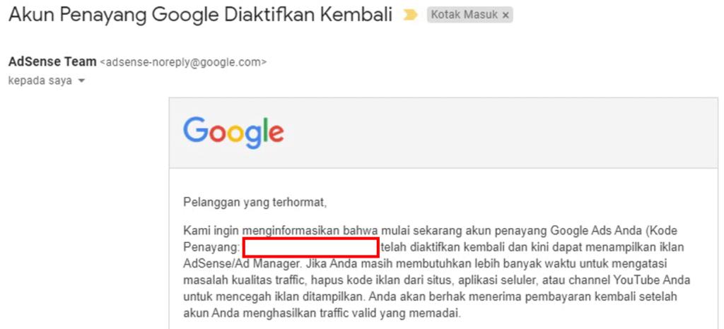 Email akun penayang Google diaktifkan kembali