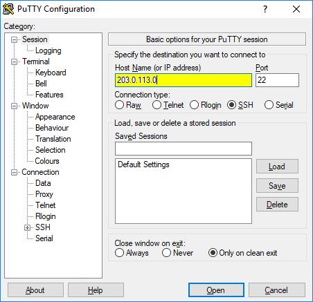 Memasukkan alamat IP host-server pada PuTTY