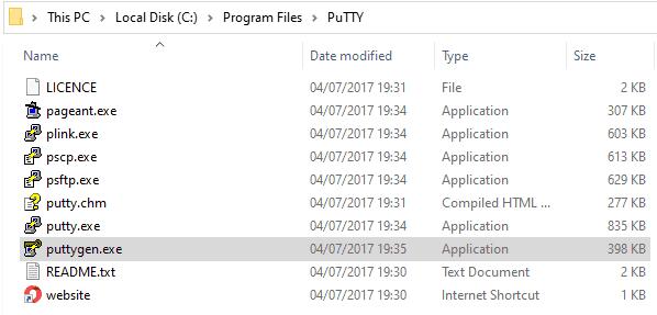 Folder Program dan aplikasi PuTTY