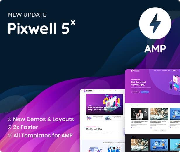 Theme Pixwell mendukung full integrasi dengan AMP